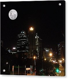 Brisbane Moon Acrylic Print by Cameron Bentley