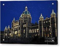 British Columbia Parliament Building At Night Acrylic Print by Tanya  Searcy
