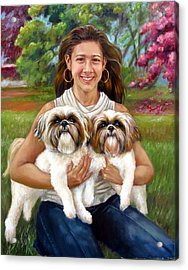 Acrylic Print featuring the painting Brittany And Her Shih Tzusu by Nancy Tilles
