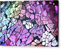 Broken Glass Mosaic Squares Acrylic Print by Angela Waye