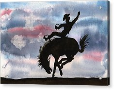 Acrylic Print featuring the painting Bronco Busting by Sharon Mick