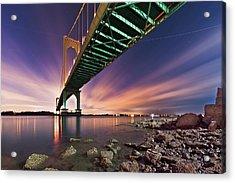 Bronx Whitestone Bridge At Dusk Acrylic Print by Mihai Andritoiu, 2010