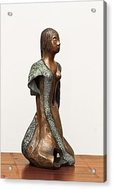 Bronze Hollow Lady In Gown Right View 2 Sculpture In Bronze And Copper Green Long Hair  Acrylic Print by Rachel Hershkovitz