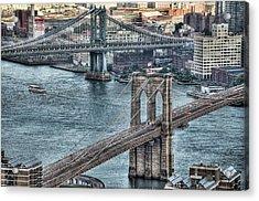 Brooklyn And Manhattan Bridge Acrylic Print by Tony Shi Photography