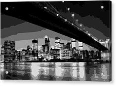 Brooklyn Bridge @ Night Bw8 Acrylic Print