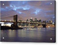 Brooklyn Bridge And Lower Manhattan Acrylic Print by Axiom Photographic