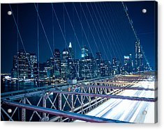 Brooklyn Bridge And Lower Manhattan By Night Acrylic Print by Miemo Penttinen - miemo.net