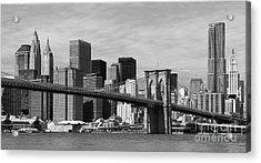 Brooklyn Bridge And Skyline Acrylic Print by Holger Ostwald