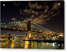 Brooklyn Bridge And Waterfront Acrylic Print by John Dryzga