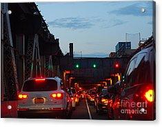Brooklyn Bridge At Night Acrylic Print by Andrea Simon