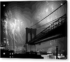 Brooklyn Bridge Fireworks Bw16 Acrylic Print