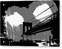 Brooklyn Bridge Fireworks Bw3 Acrylic Print