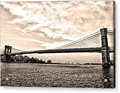 Brooklyn Bridge In Sepia Acrylic Print by Bill Cannon