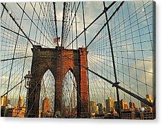 Brooklyn Bridge On A Sunset Acrylic Print by Alex AG