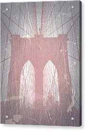 Brooklyn Bridge Red Acrylic Print by Naxart Studio