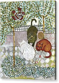 Brown And White Alley Cats Consider Catching A Bird In The Green Garden Acrylic Print