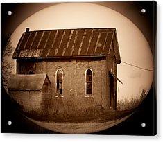 Brown Brick School House Acrylic Print by Michael L Kimble