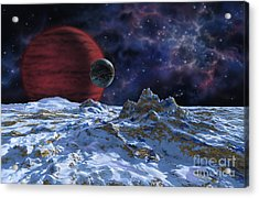 Brown Dwarf With Planet And Moon Acrylic Print by Lynette Cook