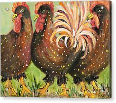 Brown Spotted Chickens Acrylic Print