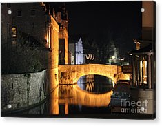 Acrylic Print featuring the photograph Bruge Night by Milena Boeva