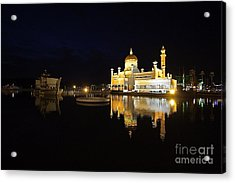 Acrylic Print featuring the pyrography Brunei Refections.  by Gary Bridger