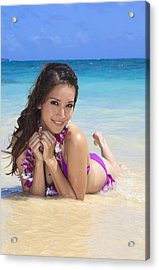 Brunette On Beach Acrylic Print by Tomas del Amo