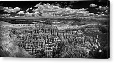 Bryce Canyon - Black And White Acrylic Print by Larry Carr