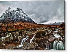 Buachaille Etive Mor With Waterfalls Acrylic Print by Fiona Messenger