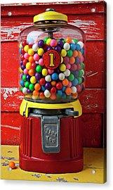 Bubblegum Machine And Gum Acrylic Print by Garry Gay