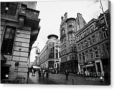 Buchanan Street Shopping Area On A Cold Wet Day In Glasgow Scotland Uk Acrylic Print by Joe Fox