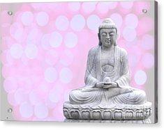 Buddha Enlightment Red-yellow Acrylic Print by Hannes Cmarits