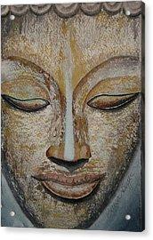 Buddha Face Acrylic Print by Teresa Beyer