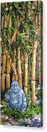 Buddha In The Bamboo Garden Acrylic Print by Annie St Martin