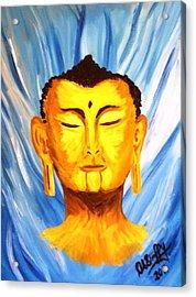 Buddha On Blue Acrylic Print by Deborah Duffy