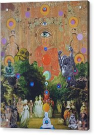 Acrylic Print featuring the mixed media Buddha's Garden Party by Douglas Fromm
