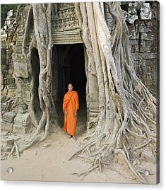 Buddhist Monk Standing Next To Tree Roots Acrylic Print by Martin Puddy