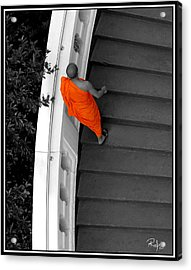 Buddhist Monks Climb Up The Golden Mountain Acrylic Print by Allan Rufus