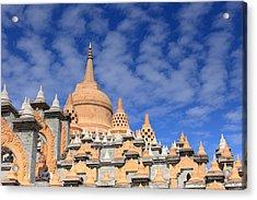 Buddhist Temple In Roi-et Acrylic Print by Thomas  von Aesch