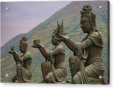 Buddhistic Statues Acrylic Print by Karen Walzer