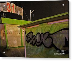 Acrylic Print featuring the photograph Building 31 Rimini Beach Graffiti by Andy Prendy