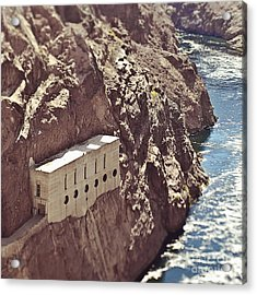 Building Built Into River Valley Cliff Acrylic Print by Eddy Joaquim