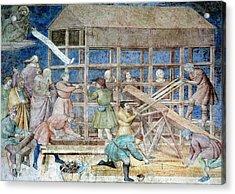 Building Noah's Ark, 14th Century Fresco Acrylic Print by Sheila Terry
