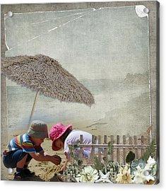 Building Sandcastles Acrylic Print by Joanne Kocwin