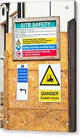 Building Site Signs Acrylic Print by Tom Gowanlock
