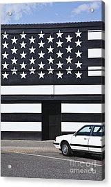 Building With An American Flag Paint Job Acrylic Print by Paul Edmondson