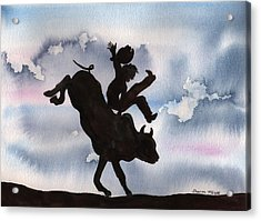Acrylic Print featuring the painting Bull Riding by Sharon Mick