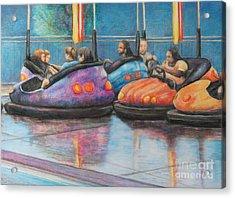 Bumper Car Traffic Jam Acrylic Print by Charlotte Yealey