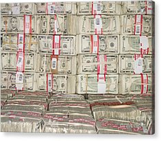 Bundles Of Five Dollar Bills Acrylic Print by Adam Crowley