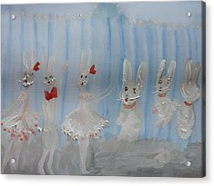 Bunny Hop Ballet Acrylic Print by Judith Desrosiers