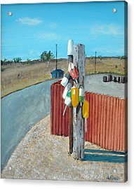 Buoys On A Pole Acrylic Print by Anthony Ross